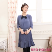 【RED HOUSE 蕾赫斯】雪紡珍珠腰鍊假兩件式洋裝(藍紫色)(無胸針)滿1111折211