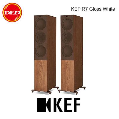 英國 KEF R7 Gloss Walnut 中型三路分音座地揚聲器 Uni-Q 同軸共點單元 胡桃木 台灣公司貨