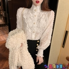 法式上衣 2021春秋季新款氣質長袖法式蕾絲小衫修身韓版打底襯衫上衣女裝潮 618狂歡