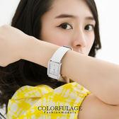 素面簡約方形水鑽刻度腕錶 真皮錶帶原廠正品 范倫鐵諾Valentino手錶【NE498】單支