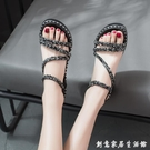 女士中跟涼鞋2020新款時尚百搭平底鞋子女網紅仙女風厚底夏季女鞋