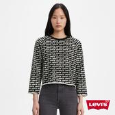 Levis 女款 長袖T恤 / 中短版 / 滿版logo 印花