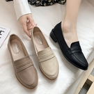 低跟鞋.MIT韓風簡約素面一字帶粗跟樂福小皮鞋.白鳥麗子