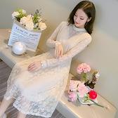 長袖洋裝年初秋裝新款長袖中長款氣質修身顯瘦打底蕾絲連衣裙女早秋款 全館免運