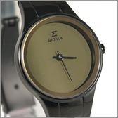 【萬年鐘錶】日系SIGMA 全黑經典女腕錶  1123L-BG