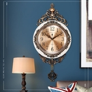 北極星歐式金屬盤搖擺靜音掛鐘客廳臥室個性創意時尚裝飾石英鐘表 夢幻小鎮