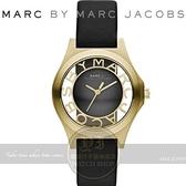 【南紡購物中心】MARC BY MARC JACOBS國際精品巴洛克風浮雕鏤空腕錶-黑金/34mm MBM1340