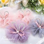 兒童配件~立體亮鑽兔耳雪紡紗壓夾-4色(P11781)★水娃娃時尚童裝★