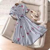 洋裝-條紋花朵刺繡優雅幹練時尚連身裙73sz45【時尚巴黎】