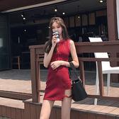 背心裙連衣裙性感小短裙修身高腰開叉不規則復古紅色背心裙夏 伊蒂斯女裝