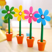 【2入99免運】【隨機出貨】逼真太陽花朵筆 盆栽圓珠筆 1.0mm(筆芯藍)