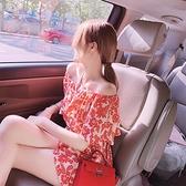 連身褲裝 連身褲女夏季時尚荷葉邊紅色一字肩顯瘦露肩收腰寬管短褲-Ballet朵朵