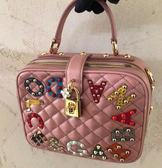 ★專櫃62折! Dolce&Gabbana 小巧 Dolce Soft 菱格紋小牛皮迷你手提包 粉色