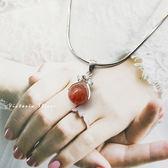 S925純銀 優雅氣質甜心女孩可愛森系草莓晶項鍊-維多利亞180675