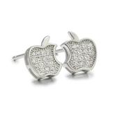 耳環 925純銀鑲鑽-蘋果造型生日情人節禮物女飾品2色73dm9【時尚巴黎】