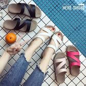 [Here Shoes] 百搭外穿 韓版一字拖 拖鞋 海灘拖 沙灘拖 厚底時尚拖 防滑坡跟 4色 —ADW1702
