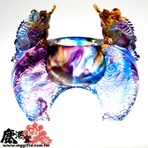 218-1016鹿港窯‧琉璃-擺飾/獎牌【開運吉祥物_雙蜍聚寶】
