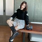 拼接條紋假兩件衛衣女2020秋季新款韓版寬鬆百搭顯瘦圓領長袖上衣 【蜜斯蜜糖】