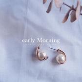 early Morning - 幾何珍珠 18K玫瑰金耳環 韓版【ER100】