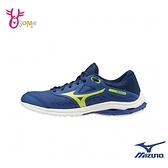 Mizuno慢跑鞋 男童運動鞋 WAVE RIDER 24 JR 跑步鞋 訓練鞋 耐磨運動鞋 美津濃 大童 J9217#藍綠◆奧森