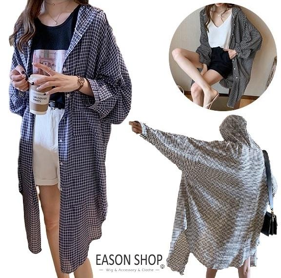 EASON SHOP(GW4260)韓版撞色格紋棉麻薄款長版OVERSIZE前排釦長袖襯衫外套女上衣服寬鬆格子罩衫