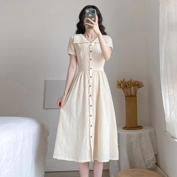 洋裝 氣質連衣裙 收腰遮跨法式復古桔梗連身裙中長裙  6831 依Baby
