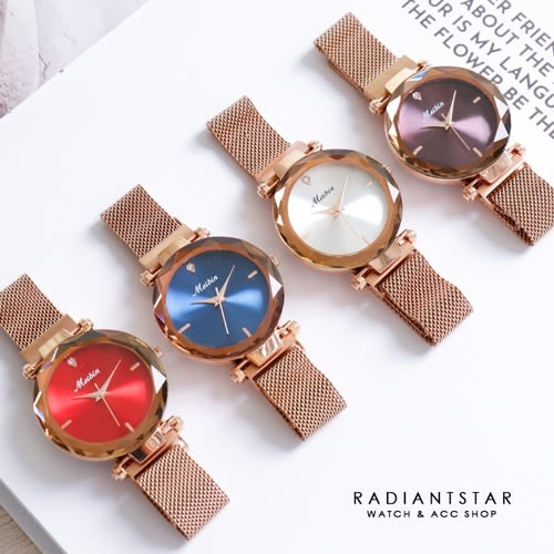 MEIBIN夜寐日不落花玻璃切面磁吸米蘭金屬鍊帶手錶【WM1249】璀璨之星☆