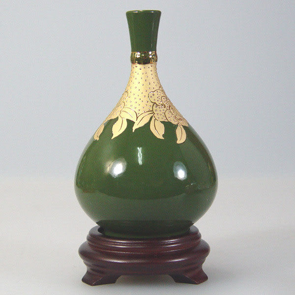 鹿港窯~居家開運花瓶~6寸綠釉浮金環頸膽瓶;購物清單:1件