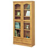 【森可家居】赤陽2.8尺推門下抽書櫃 8SB243-7 玻璃書櫥 無印鄉村風