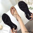 PAPORA清涼單結平底羅馬夾腳涼鞋KB4黑/卡其