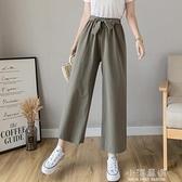 少女褲子2020年新款夏裝初中高中學生寬鬆休閒薄款九分棉麻闊腿褲『小淇嚴選』