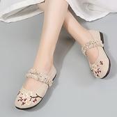 漢服鞋子女學生繡花鞋古風仙女搭配裙子的平底古裝單鞋平底媽媽鞋 快速出貨