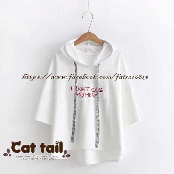 現 〃《貓尾巴》TS-0534 簡約字母印花連帽短袖T恤(森林系 日系 棉麻 文青 清新)