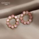 耳釘 早春新品粉色圓圈耳釘高級感耳環女925銀針耳飾潮 星河光年