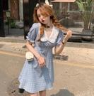 VK精品服飾 韓國學院風休閒素色格紋娃娃領氣質短袖洋裝