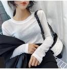 透膚上衣 基礎款微透打底衫t恤女薄款性感長袖透視上衣冰絲內搭 格蘭小舖