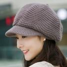 帽子女秋冬季八角帽針織毛線帽冬天保暖時尚貝雷帽韓版百搭兔毛帽 貝芙莉