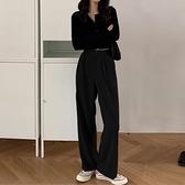 2021新款春春西裝寬管褲女春季高腰垂感黑色直筒寬鬆小個子拖地褲 【開春特惠】