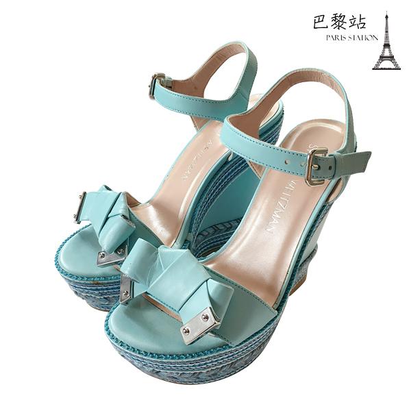 【巴黎站二手名牌專賣店】*全新現貨*Stuart Weitzman 真品*青空藍色涼鞋楔型鞋(35.5號)