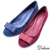 【Deluxe】全真皮可替換是圓頭跟鞋(藍☆紅)