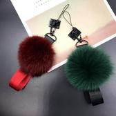 暖手狐貍毛球手機掛繩短款可拆卸毛絨掛繩 ☸mousika