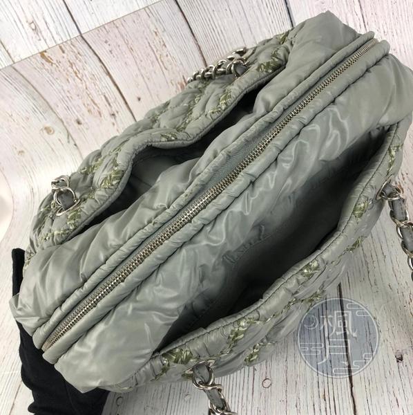 BRAND楓月 CHANEL 香奈兒 14開 灰綠尼龍編織線托特包 菱格紋 鍊帶 銀鍊 雙C LOGO 肩背包 手提包