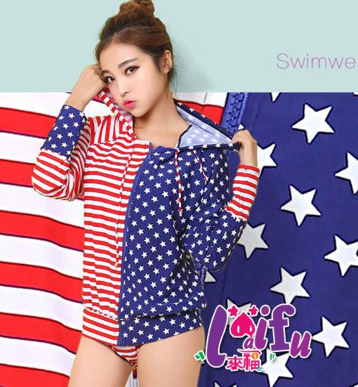 ★草魚妹★C482泳衣星星圖紋外套有帽三件式泳衣游泳衣泳裝比基尼,售價950元