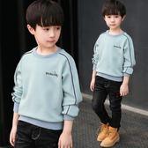 男童連帽T恤秋冬兒童加絨 新款加厚打底衫中大童T恤休閒韓版潮衣 薇薇