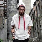 帽T 短袖連帽寬松運動衫 嘻哈半袖上衣服  【潮男街】