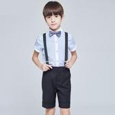 兒童洋裝男童禮服 主持人鋼琴演出服套裝小學生背帶褲表演服夏 CJ5234『毛菇小象』