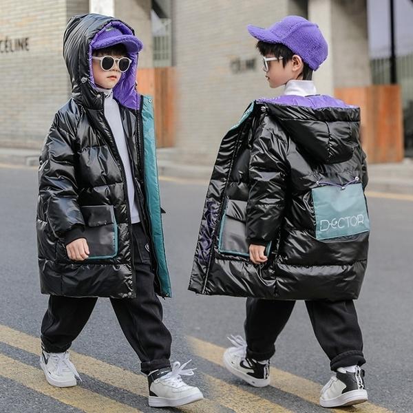 羽絨服 男孩冬裝連帽黑色韓版冬款中長款男童鴨絨外套 【618特惠】