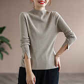 純棉復古坑條長袖針織衫 純色袖子開叉半高領打底毛衣/7色-夢想家-1020