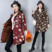 秋冬季韓版復古加絨加厚大碼襯衣印花棉麻印花棉衣女外套上衣『爆米花』