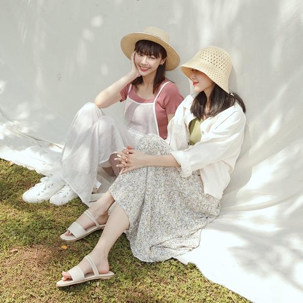 Queen Shop【03020873】田園碎花造型傘擺雪紡長裙 兩色售*現+預*